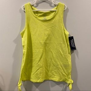 Lime Green/Yellow Side-Tie Tank Top, size 10/12